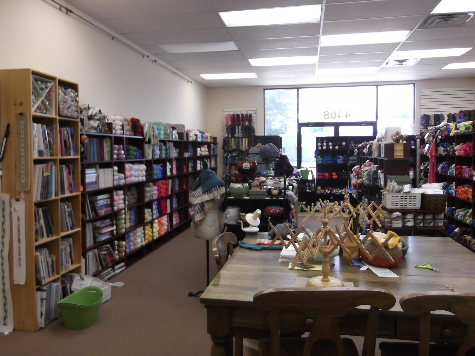 A view of the yarn room.