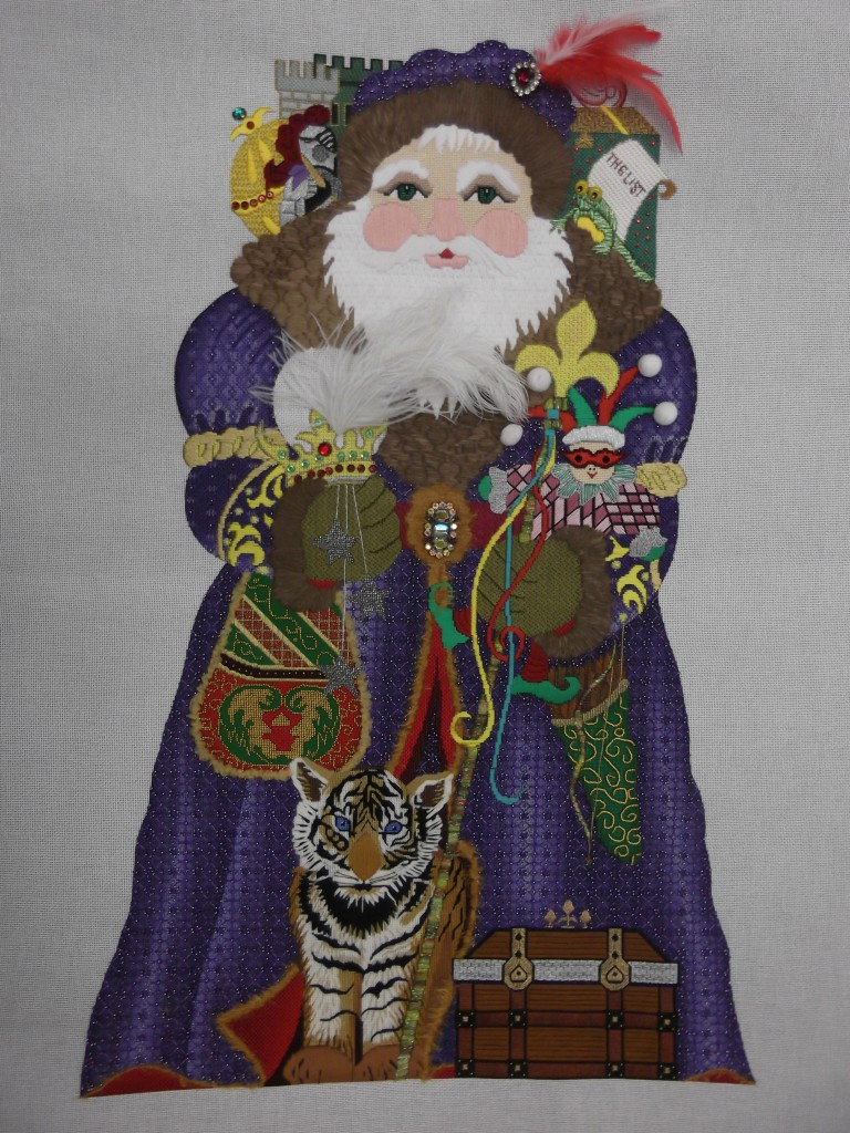 Amanda Lawford stand-up santa, stitched by Georgie